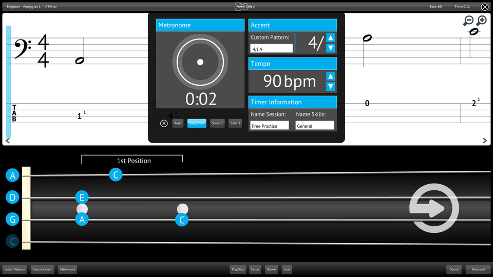Purely Cello Screenshot Custom Metronome