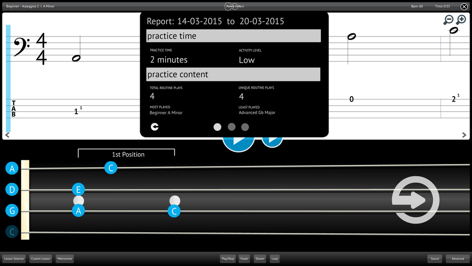 Purely Cello Screenshot Reporting Measuring Progress